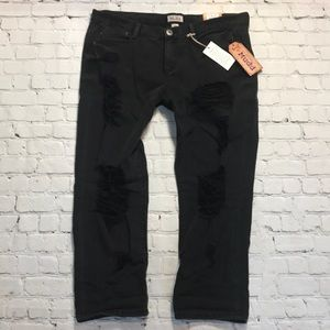 NEW Mudd distressed cropped jeans sz 13